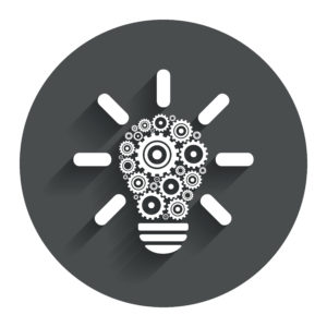 Light lamp sign icon. Bulb with gears and cogs symbol. Idea symbol. Circle flat button with shadow. Modern UI website navigation.