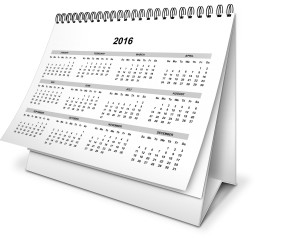 The new financial year is just around the corner. Image of a 2016 desk calendar