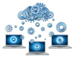 10299799 - cloud computing symbol represented by a cloud made of gears and cogs raining down on laptop computers that are connected to the virtual servers.